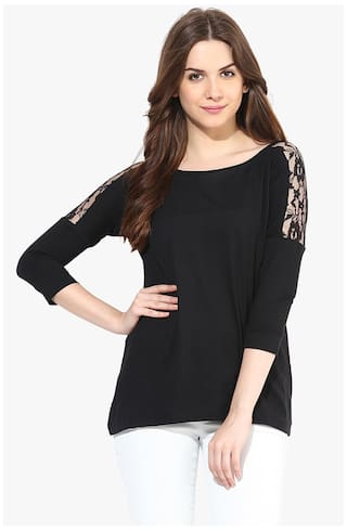 Miss Chase Women's Black Round Neck 3/4 Sleeves Solid Lace Basic Top