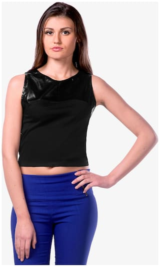 Miss Chase Women's Black Round Neck Sleeveless Faux Leather Patch Shoulder Crop Top