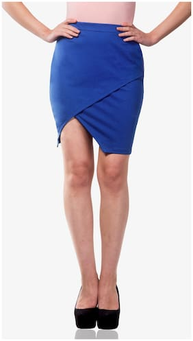 Miss Chase Women's Cobalt Blue Mid Rise Slim Fit Front Wrap Skirt