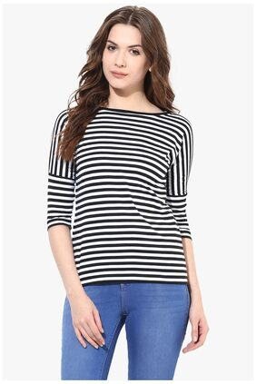 Miss Chase Women's Black and White Round Neck 3/4 Sleeves Monochrome Striped Top