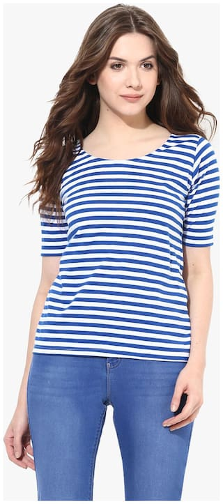 Miss Chase Women's Blue and White Round Neck Half Sleeves Striped Basic Top