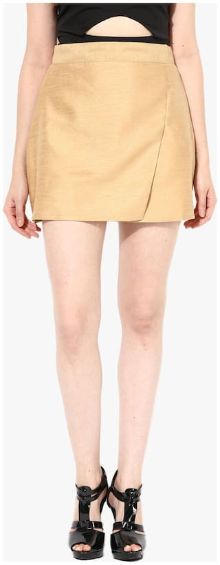 Miss Chase Women's Beige Mid Rise Solid Front Flap Mini Wrap Skirt
