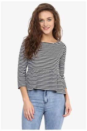 Miss Chase Women's Black and White Round Neck 3/4 Sleeve Monochrome Striped Peplum Top