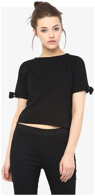 Miss Chase Women's Black Round Neck Half Sleeves Solid Basic Crop Top