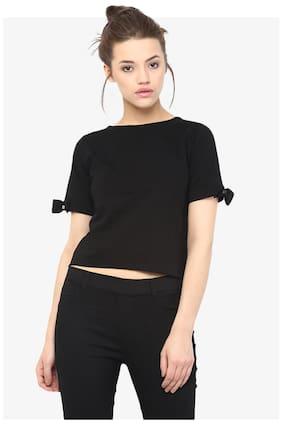 Miss Chase Women's Black Round Neck Half Sleeves Solid Basic Crop Top