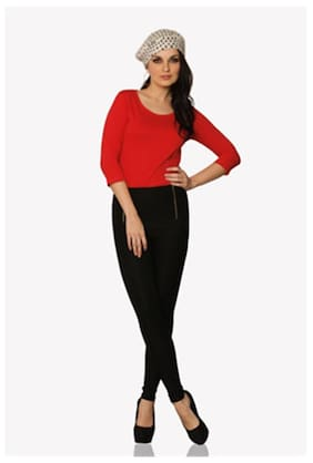 Miss Chase Women's Red Round Neck 3/4 Sleeves Solid Basic Top