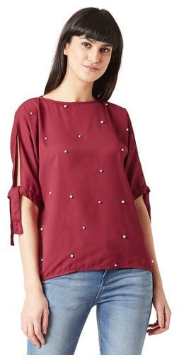 Miss Chase Women Solid Regular top - Maroon