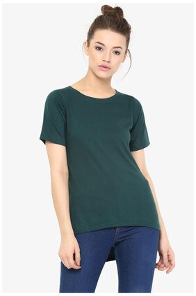 Miss Chase Women's Green Round Neck Short Sleeves Solid Back Slit High Low Top