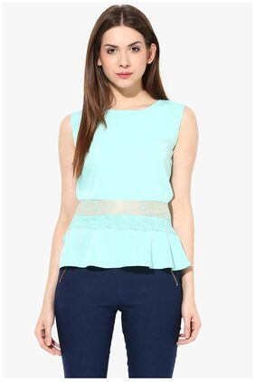 Miss Chase Women's Mint Blue Round Neck Sleeveless Back Buttoned Lace Peplum Top