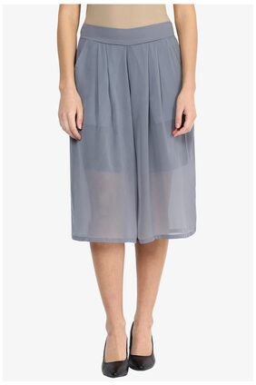 Miss Chase Women's Grey Mid Rise Pleated Sheer Culottes