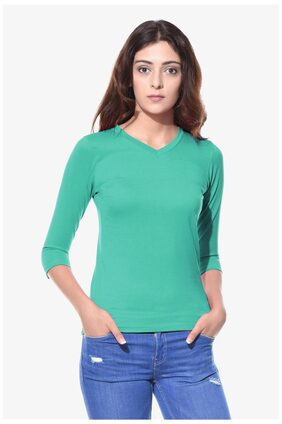 Miss Chase Women's Green V-Neck 3/4 Sleeves Casual Solid Basic Top