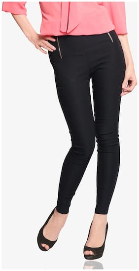Miss Chase Women's Dark Grey Solid Slim Fit High Waist Jeggings