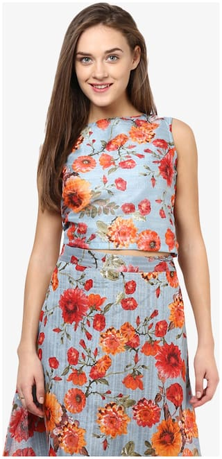 Miss Chase Women's Multicolor Round Neck Sleeveless Floral Printed Crop Top