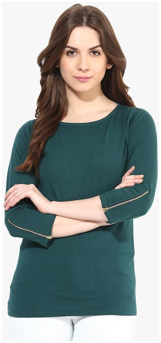 Miss Chase Women's Green Round Neck 3/4 Sleeve Zip Detailing Solid Basic Top