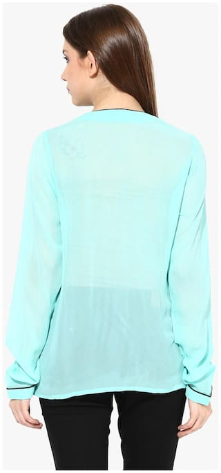 Oversized Miss Sleeves Top Mint Chase Pocket Round Women's Shirt Full Neck x0n4SF0qwr