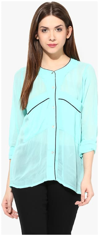 Miss Chase Women Blue Solid Regular Fit Shirt
