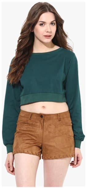 Miss Chase Women's Green Round Neck Full Sleeves Solid Crop Top