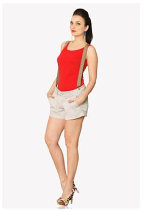 Miss Chase Women's Red Round Neck Sleeveless Solid Tank Top