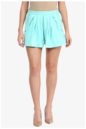 Miss Chase Women's Mint Mid Rise Pleated Shorts