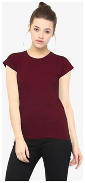 Miss Chase Women's Maroon Round Neck Short Sleeves Solid Basic Top