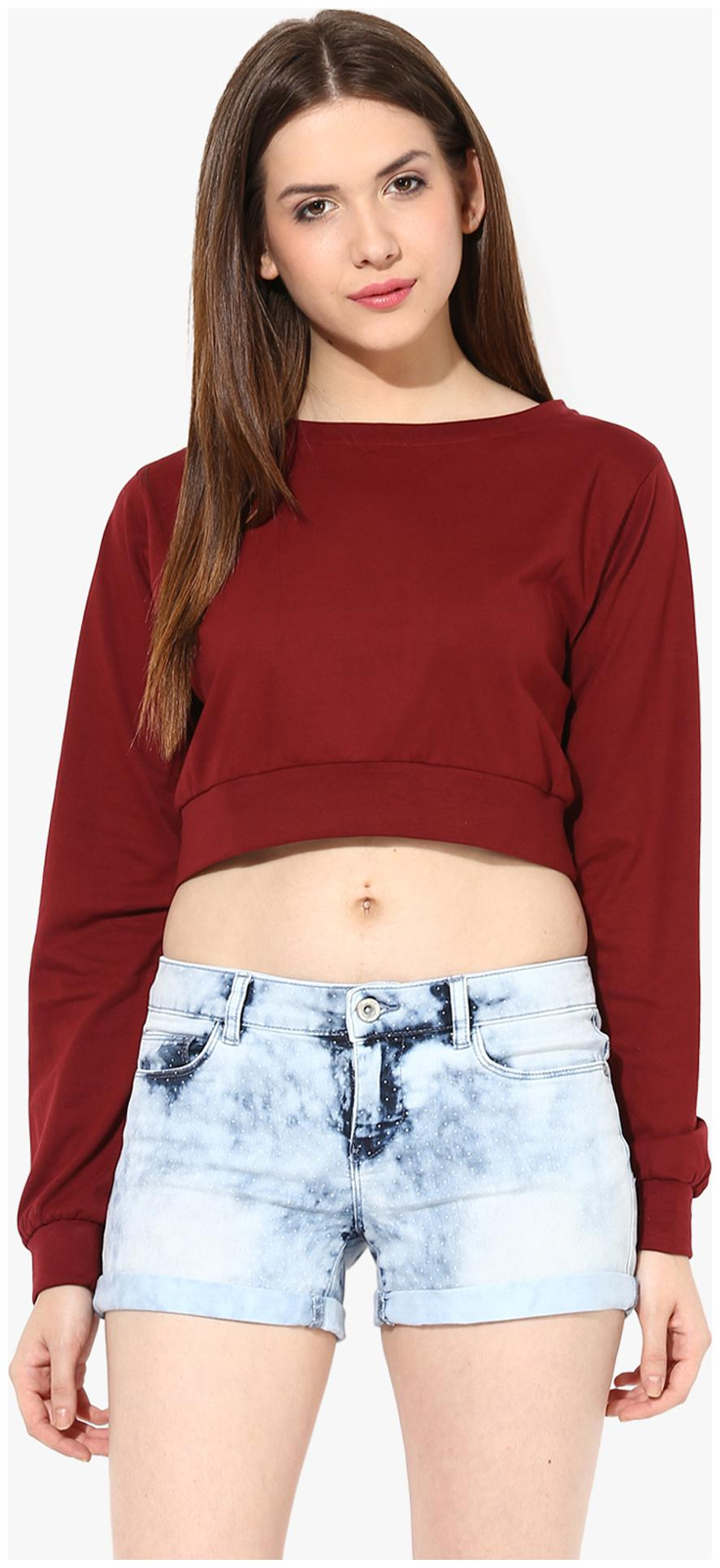 Miss Chase Women's Maroon Round Neck Full Sleeves Solid Crop Top by Miss Chase