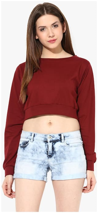 Miss Chase Women's Maroon Round Neck Full Sleeves Solid Crop Top