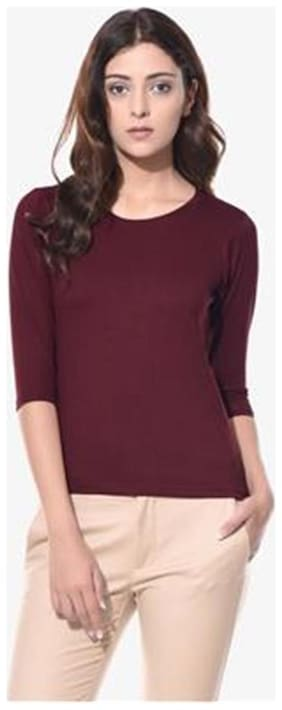 Miss Chase Women's Maroon Round Neck 3/4 Sleeves Casual Basic Top