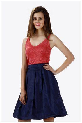 Miss Chase Women's Navy Blue Mid Rise Solid Skater Skirt