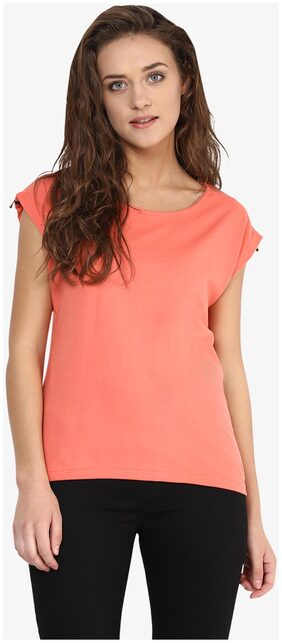 Miss Chase Women's Coral Round Neck Cap Sleeves Solid Basic Top