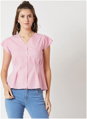 Women Checked V Neck Top