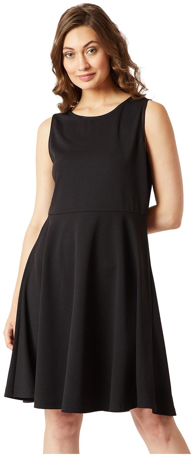 Miss Chase Polyester Solid A line Dress Black