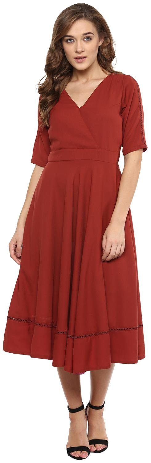 Miss Chase Polyester Solid Regular Sleeves Fit   Flare Dress  Maroon