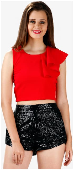 Miss Chase Women's Red Round Neck Sleeveless Ruffles Crop Top