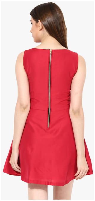 Sleeveless Red Chase Boat Mini Miss Women's Neck Skater Dress Solid wfACqnX