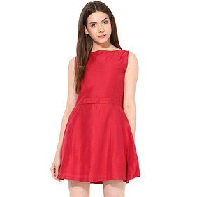 Miss Chase Women's Red Boat Neck Sleeveless Solid Mini Skater Dress