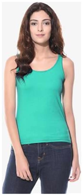 Miss Chase Women's Sea Green Round Neck Sleeveless Casual Relaxed Fit Basic Top