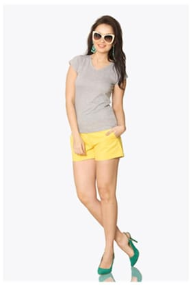 Miss Chase Women's Grey V-Neck Short Sleeves Solid Basic Top