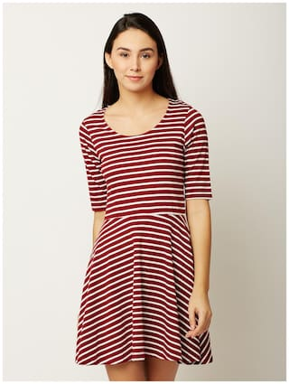 Miss Chase Women's Maroon and White Round Neck Half Sleeve Striped Mini Skater Dress
