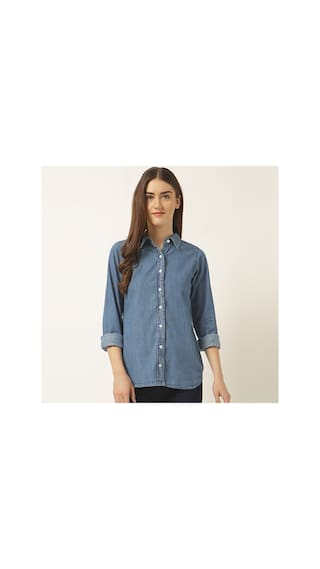 Miss Chase Women's Blue Round Neck Full Sleeve Solid Buttoned Collared Denim Shirt