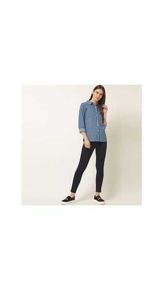 Blue Collared Miss Neck Buttoned Sleeve Round Chase Women's Denim Solid Full Shirt zqwqRT