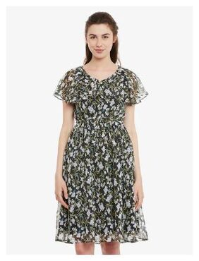 Miss Chase Womens Multicolored V Neck Half Sleeves Slim Fit Printed Midi Dress