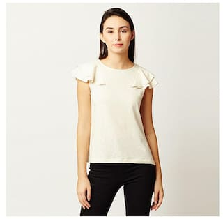 Miss Chase Women Georgette Solid - A-line Top White