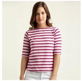 Miss Chase Women's Maroon And Pink Boat Neck Half Sleeve Cotton Striped Top