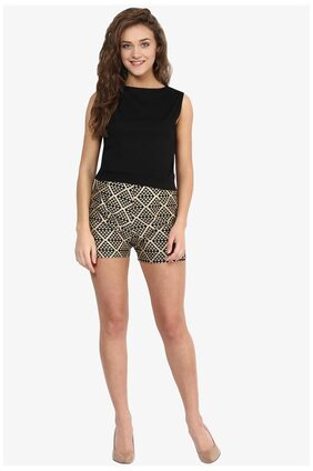 Miss Chase Women's Black and Gold Mid Rise Slim Fit Abstract Print Shorts