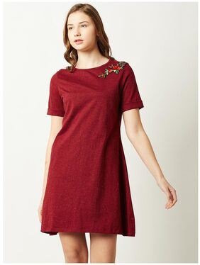 Miss Chase Women's Maroon Round Neck Short Sleeve Solid Floral Embroidered Mini A-Line Dress