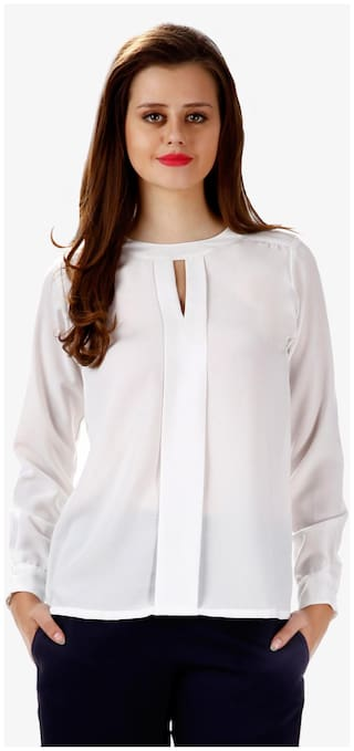Miss Chase Women's Off White Round Neck Full Sleeves Solid Top