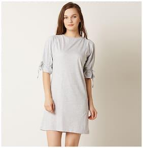 Miss Chase Women's Light Grey Round Neck Half Sleeves Shift Dress