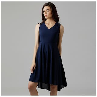 9b015f7d4de0 Miss Chase Women's Navy Blue V-Neck Sleeveless Solid High-Low Midi Skater  Dress