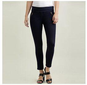 Miss Chase Women's Navy Blue Super Skinny Fit High Rise Regular Length Zip Detail Denim Stretchable Jeggings