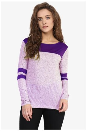 Miss Chase Women's Purple Round Neck Full Sleeves Solid Basic Top